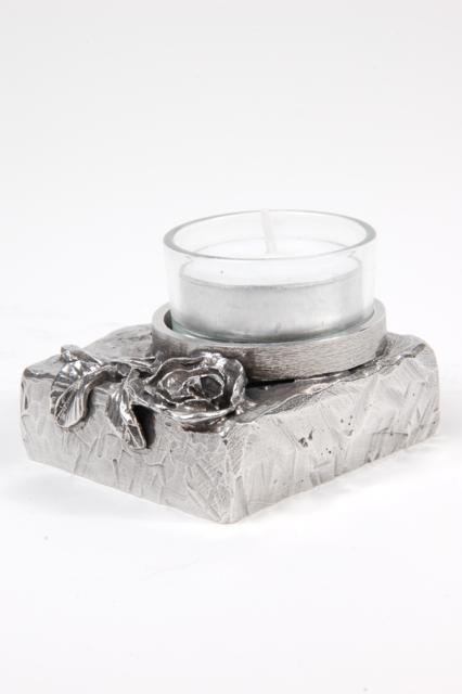 Asbeeldje Roos-Met Waxinelicht Ruw, Zilver (0.02 liter)