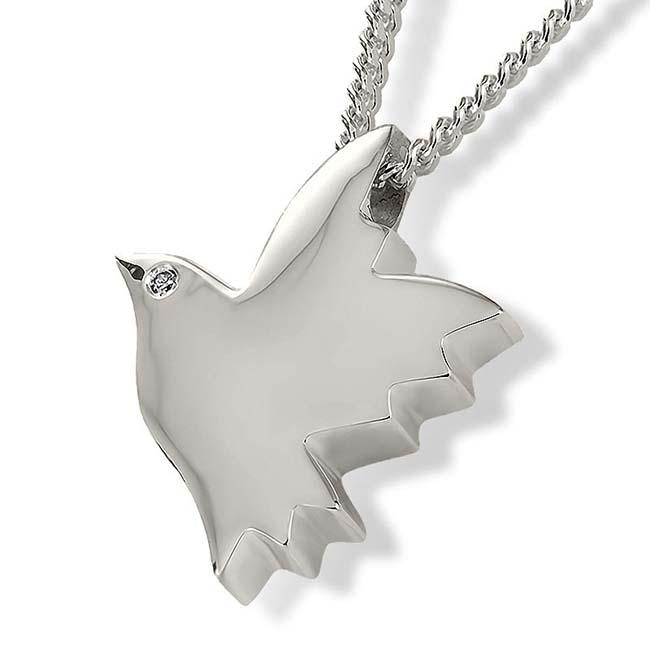 Zilveren Ashanger Vredesduif met zirkonia oog