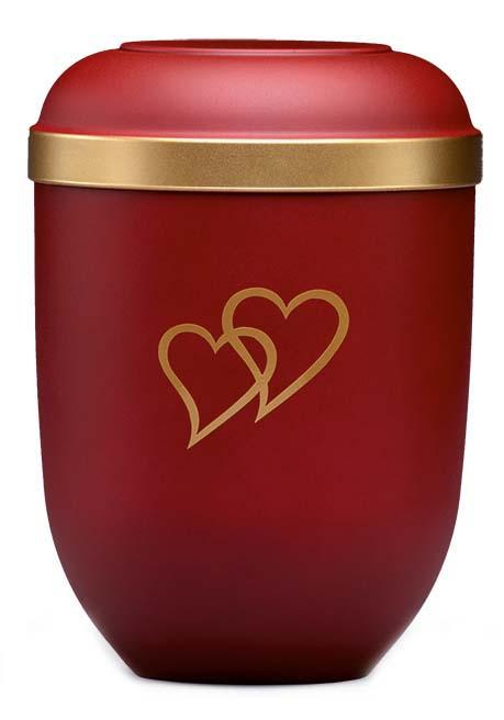 Biologisch Afbreekbare Eco Urn Rood - Harten (4.5 liter)