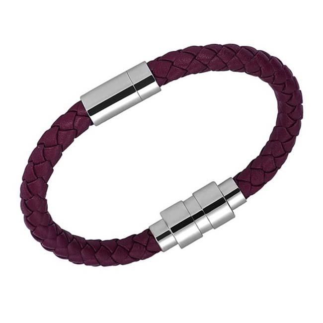 Bordeaux Leren Aurora Armband, ronde RVS Asruimte