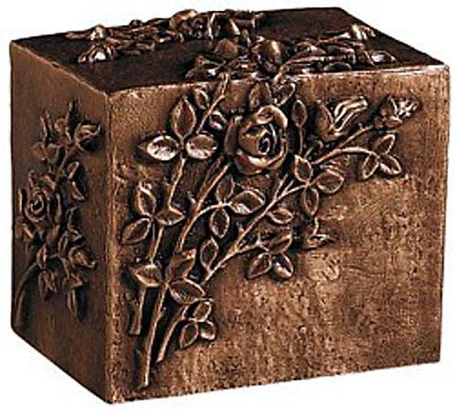Bronzen Kist Urn met bloemmotief (5 liter)