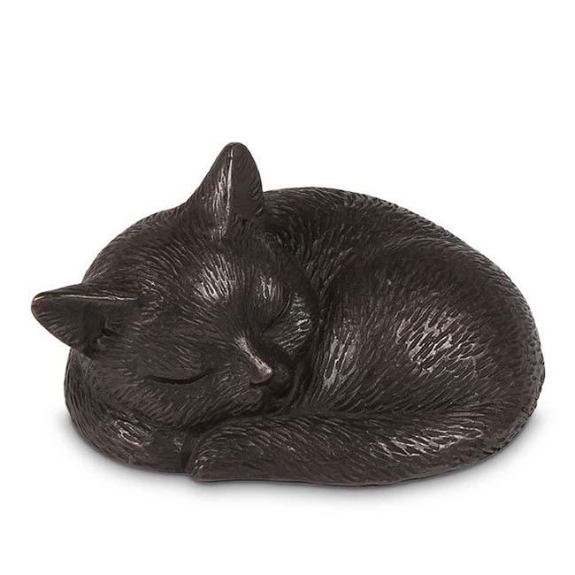 Bronzen Mini Urn Slapend Katje (0.25 liter)