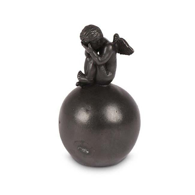 Bronzen Mini Bol Dierenurn met Treurend Engeltje (0.1 liter)