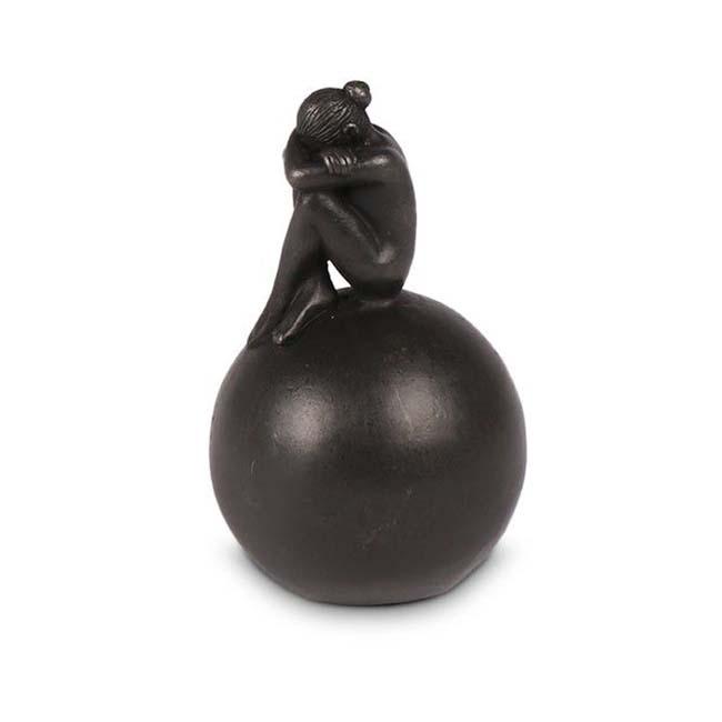 Bronzen Mini Bol Urn met Treurende Vrouw (0.1 liter)
