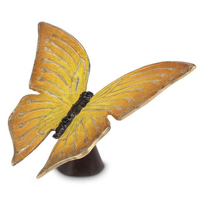 Bronzen Mini Dierenurn Gele Vlinder, 13 cm (0.01 liter)