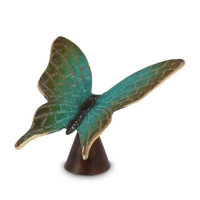 Bronzen Mini Dierenurn Groene Vlinder, 10.5 cm (0.01 liter)