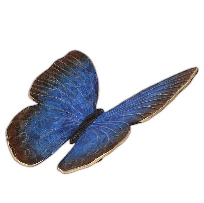 Bronzen Mini Urn Blauwe Vlinder, 18 cm (0.01 liter)
