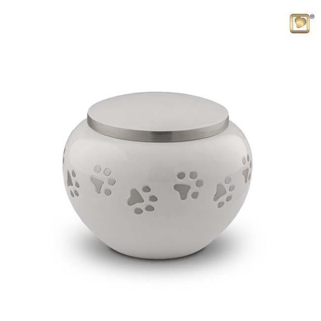 Kleine Dierenurn Zilveren Pootafdrukjes Wit (0.5 liter)