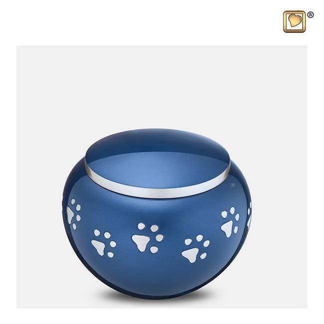 Kleine Dierenurn Zilveren Pootafdrukjes Blauw (0.45 liter)