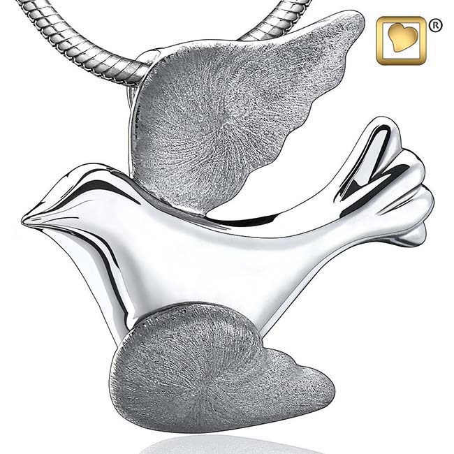 Ashanger Vliegende Duif Bicolour Zilver inclusief Collier