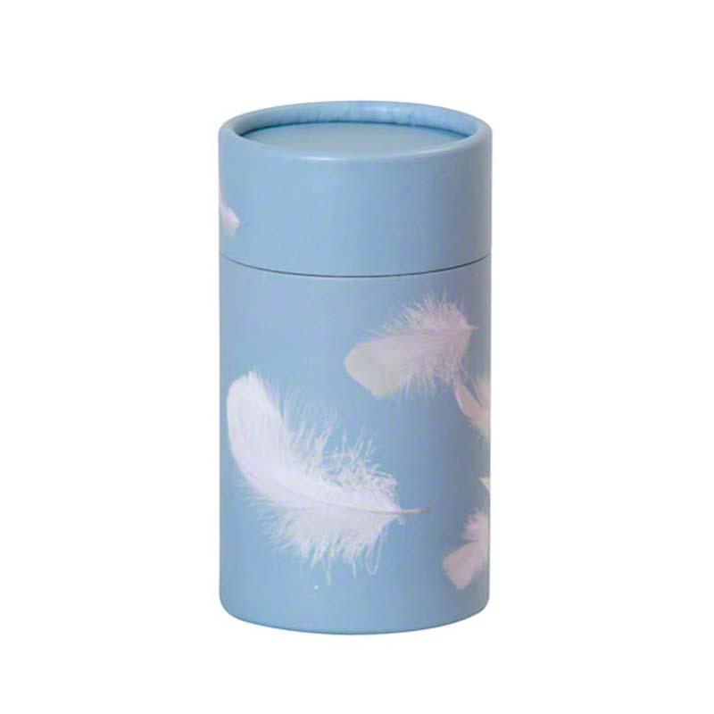 https://grafdecoratie.nl/photos/eco-urn-strooikoker-medium-blauw-witte-veertjes.jpg
