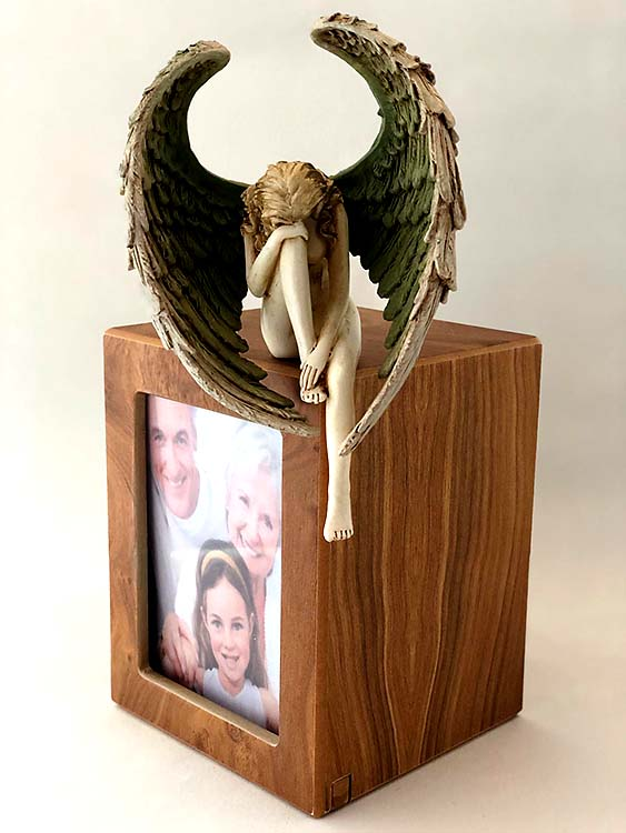 Handbeschilderde Engel op Photobox Urn (1.5 liter)