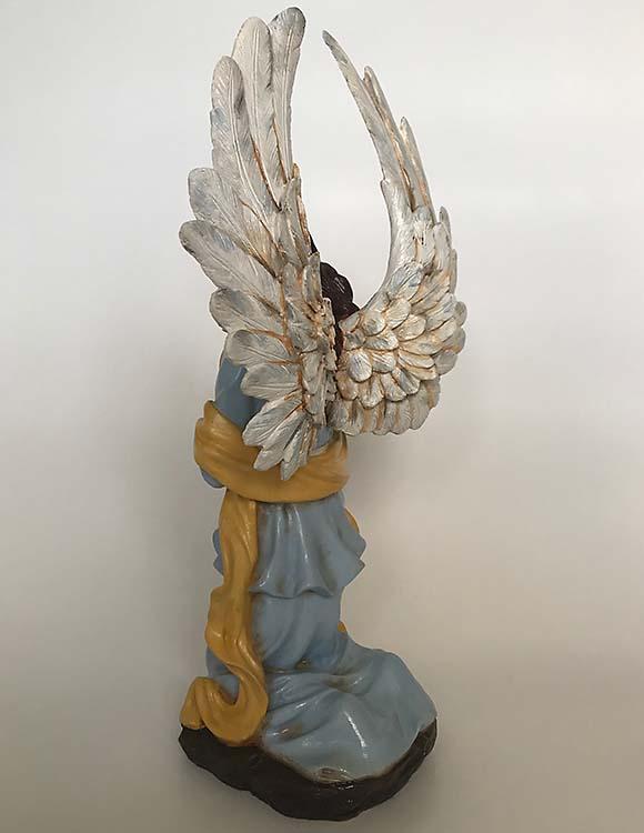 Handbeschilderde Knielend Art Angel Urn Bruin (2.5 liter)