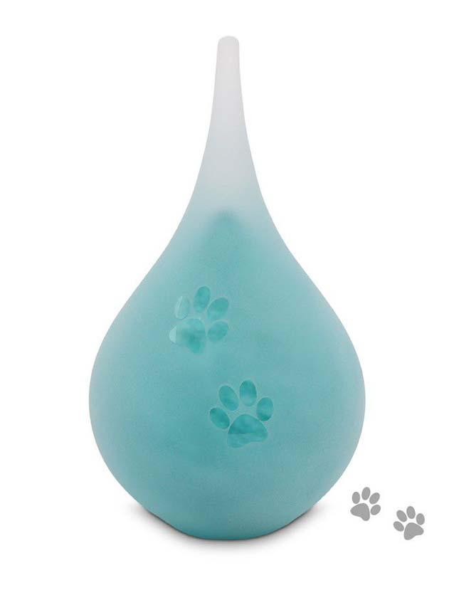 Medium Traan Urn Pootafdrukjes Frosted Turquoise (0.18 liter)