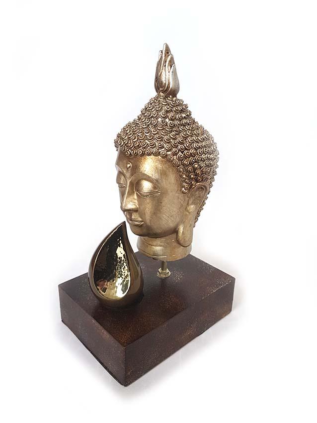 Boeddha Hoofd Gedenkaltaar met MiniDierenurn (0.1 liter)