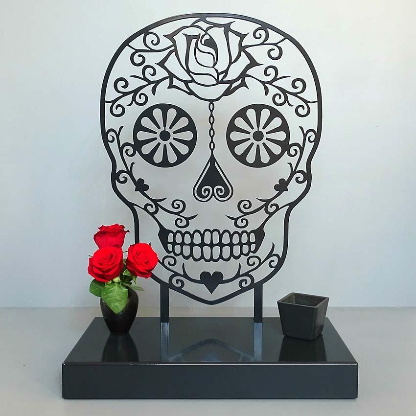Middelgroot Gedenkaltaar Urn Sugar Skull, Zwart of Wit (1.8 liter)