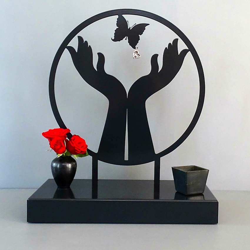 Grote Gedenkaltaar Urn Vlindervrij, Zwart of Wit (3 liter)