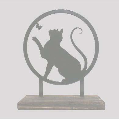 Staand Gedenkaltaar Speelse Kat RVS (28 cm.)