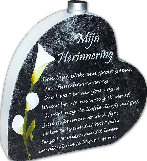 Houten Gedenkhart met Gedicht en Asbuisje Herinnering (0.015 liter)