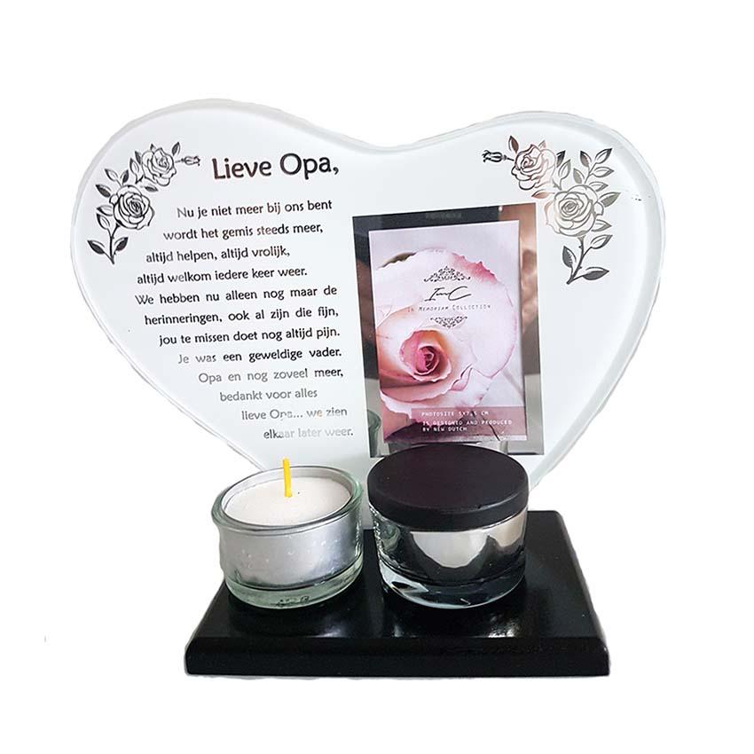 Gedenkhart met Waxinelichthouder en Mini Urn Opa (0.015 liter)