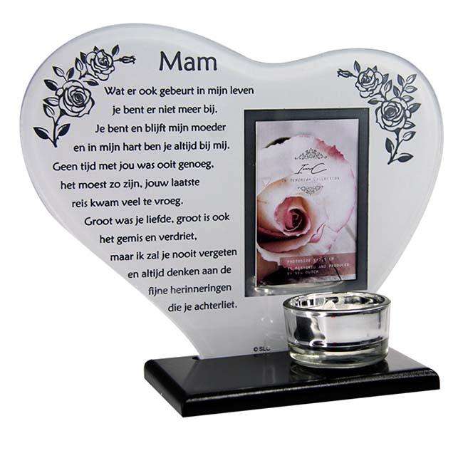 Gedenkhart Moeder, met Fotolijstje en Waxinelichthouder