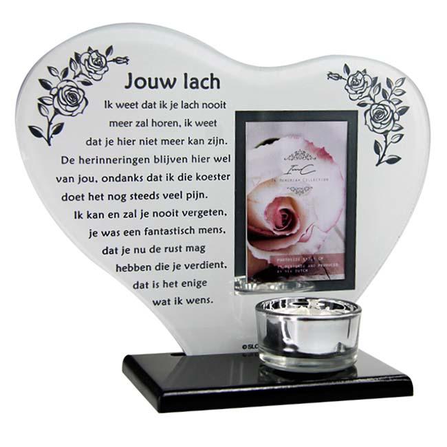 Gedenkhart Jouw Lach, met Fotolijstje en Waxinelichthouder