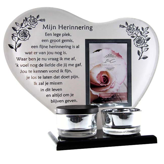 Gedenkhart met Waxinelichthouder en Mini Urn Herinnering (0.015 liter)