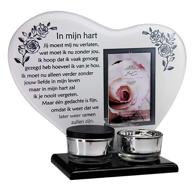Gedenkhart met Waxinelichthouder en Mini Urn (0.015 liter)