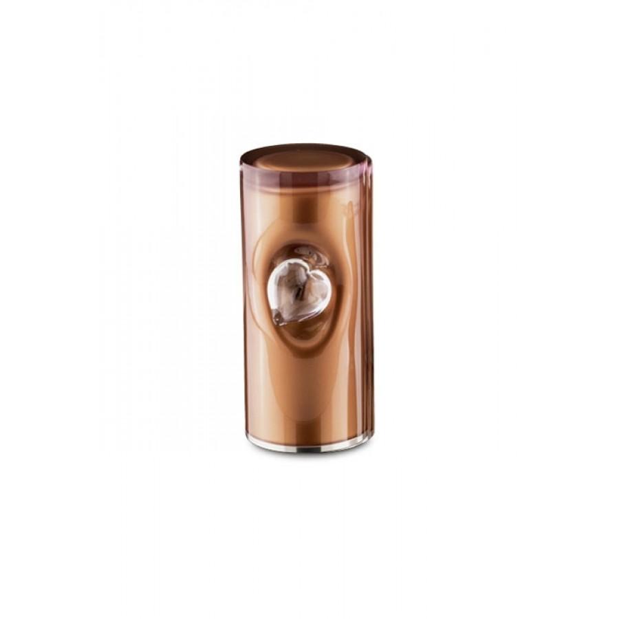 Middelgrote Kristalglazen Cilinder Urn Bruin (1 liter)