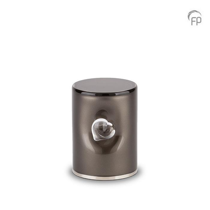 Kleine Kristalglazen Cilinder Urn Zwart (0.5 liter)