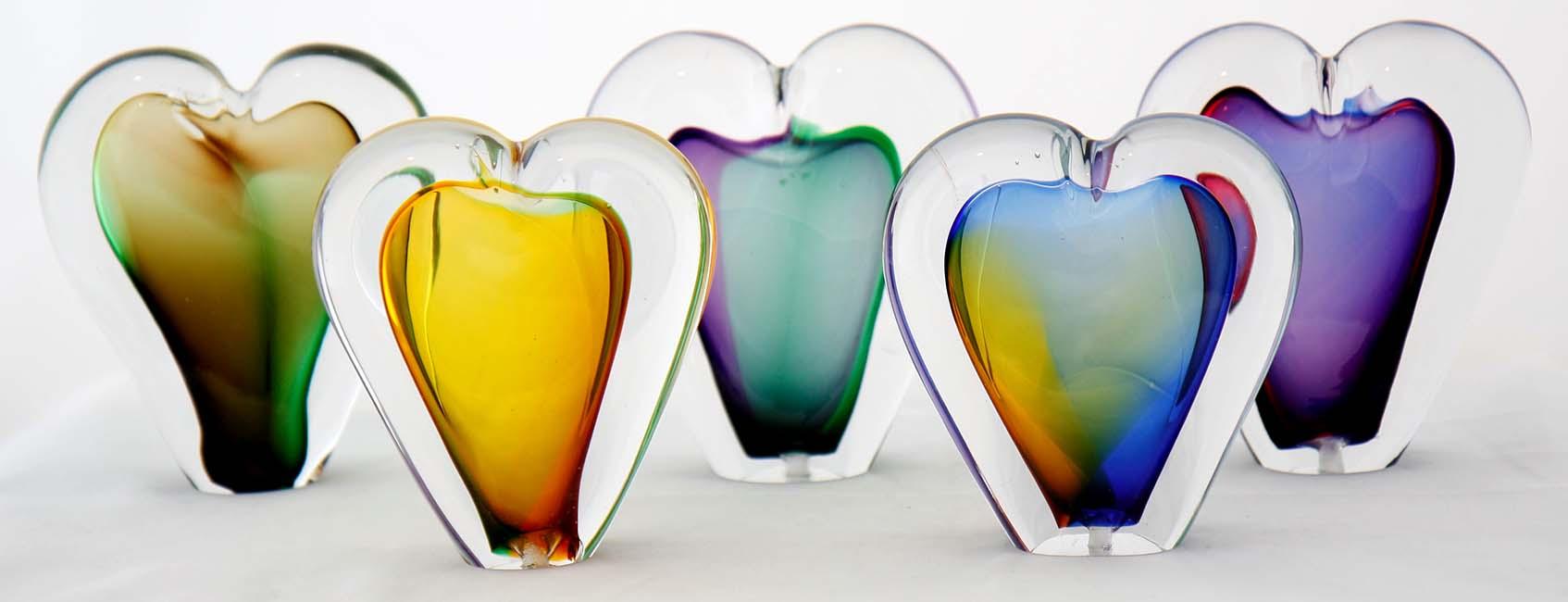 Kristalglazen 3D Mini Hart Urn Paarsgroen (0.05 liter)