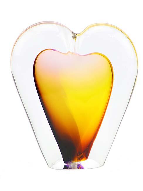 Kristalglazen 3D Mini Hart Urn Geel (0.05 liter)