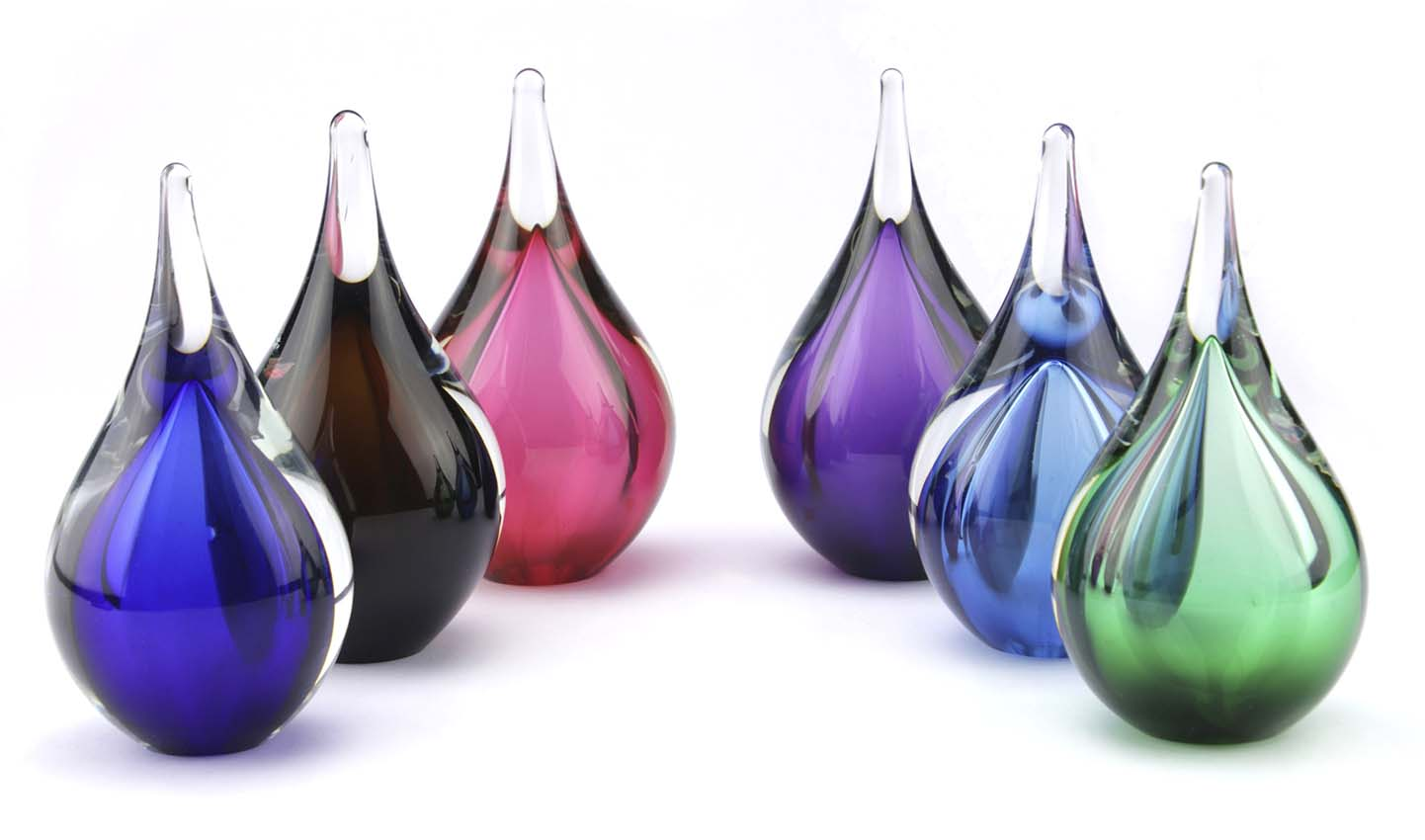 Kristalglazen 3D Mini Traan Urn Roze-Zwart (0.05 liter)