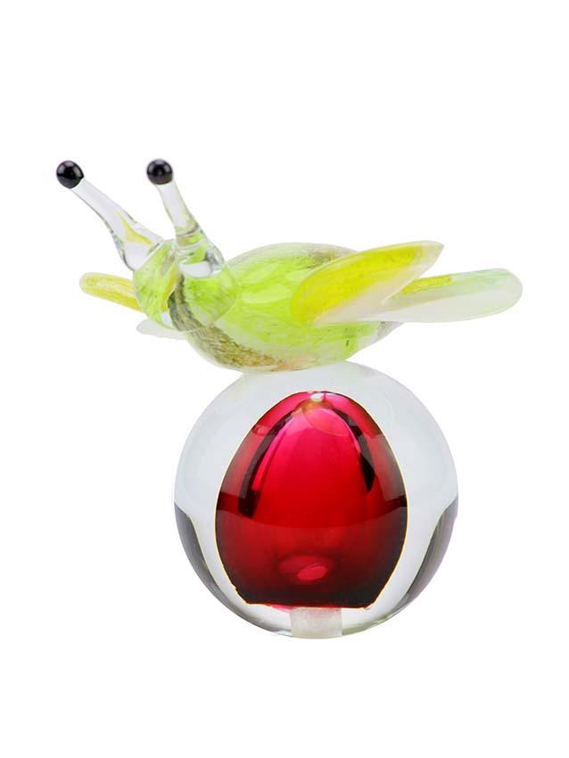 Kristalglazen 3D Mini Vlinder Urn Rood-Groen (0.05 liter)