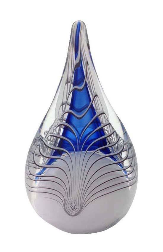 Kleine Kristalglazen 3D Traan Urn Blauw (0.2 liter)