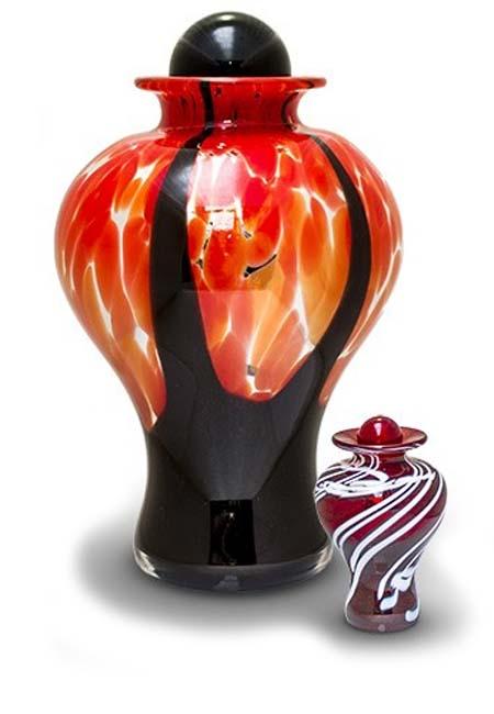 Mini Glazen Urn Donkerrood-Wit (0.15 liter)