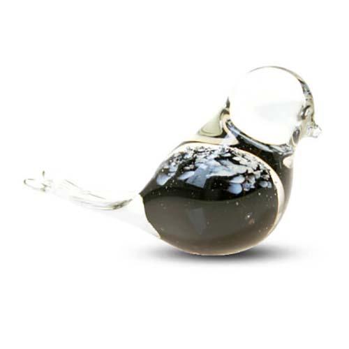 Kristalglazen Mini Vogel Dierenurn Zwart Buikje (0.03 liter)