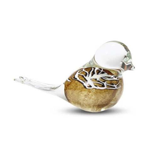 Kristalglazen Mini Vogel Urn Bruin Buikje (0.03 liter)