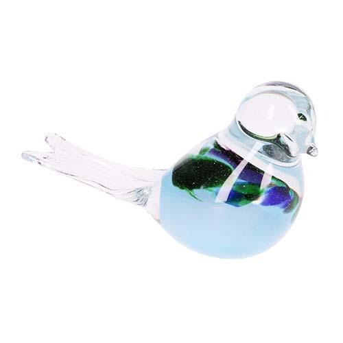Kristalglazen Mini Vogel Urn blauwgroen Buikje (0.03 liter)