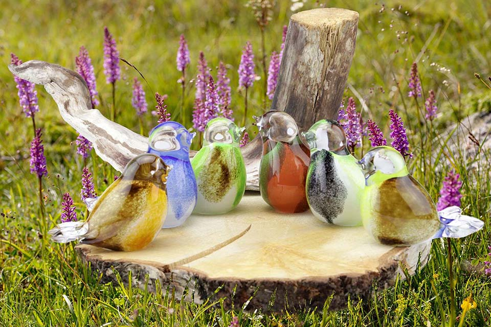 Kristalglazen 3D Mini Vogel Urn Bruin-Groen-Oranje (0.03 liter)