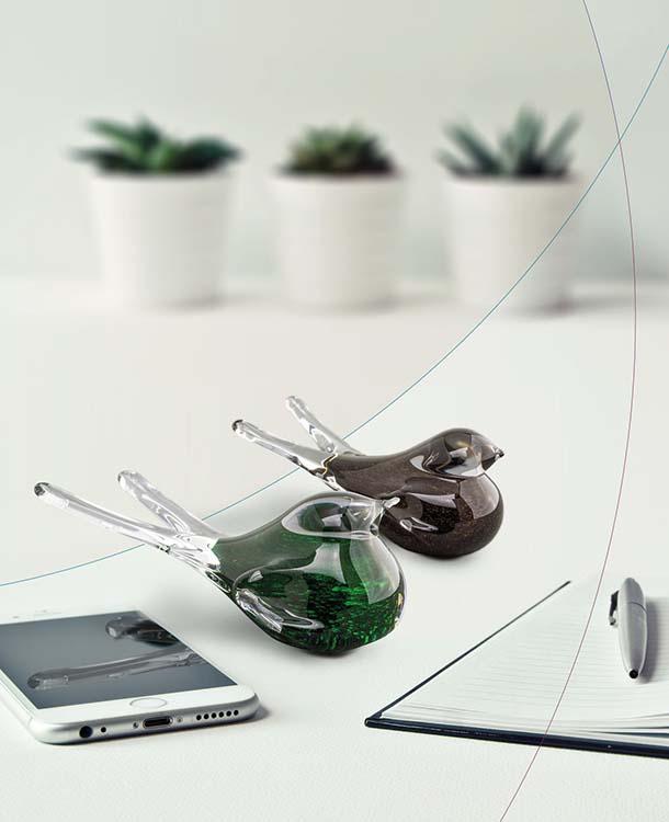 Kristalglazen Mini Vogel Urn Donkergroen Aventurijn (0,05 liter)