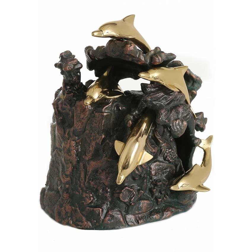 Gote Bronzen Standbeeld Dierenurn Dolfijnen (4.5 liter)