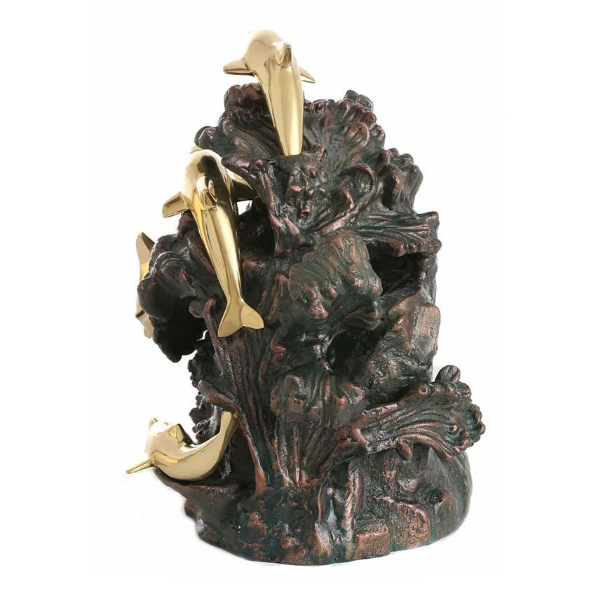 Bronzen Urn Dansende Dolfijnen rond Rots (4.5 liter)