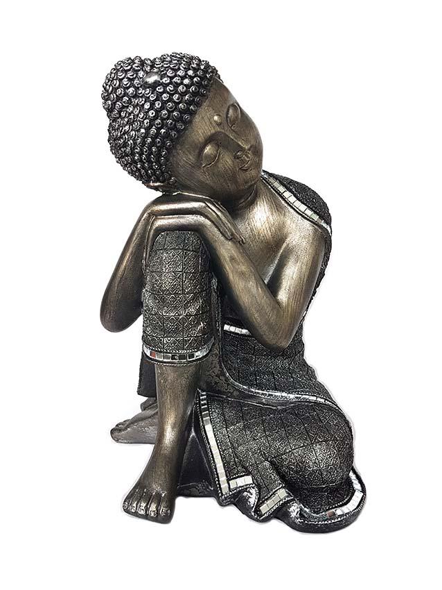 Grote Boeddha Urn Slapende Indische Buddha Oudzilver (3 liter)