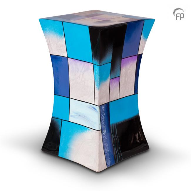 Grote Diabolo Glasfiber Urn Blauw-Wit (3.8 liter)