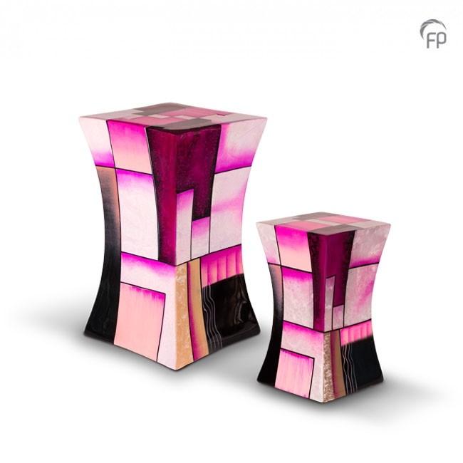 Grote Diabolo Glasfiber Urn Roze-Wit (3.8 liter)
