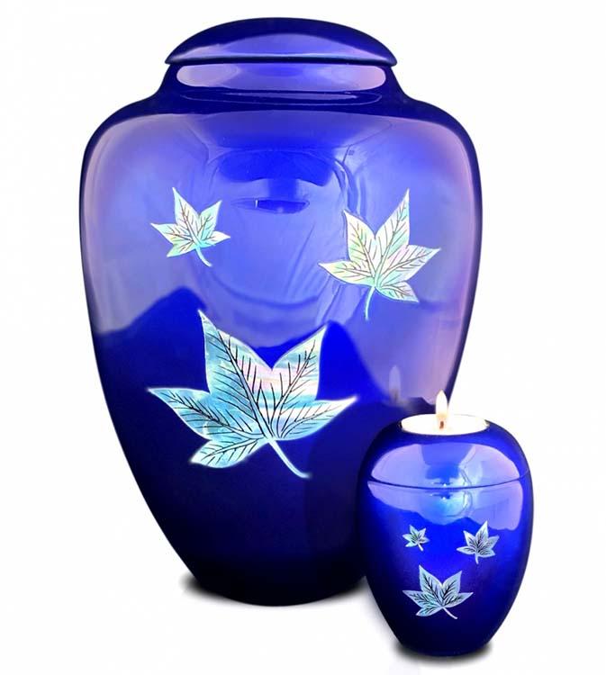 Grote Glasfiber Urn Vallende Bladeren Blauw (3.4 liter)