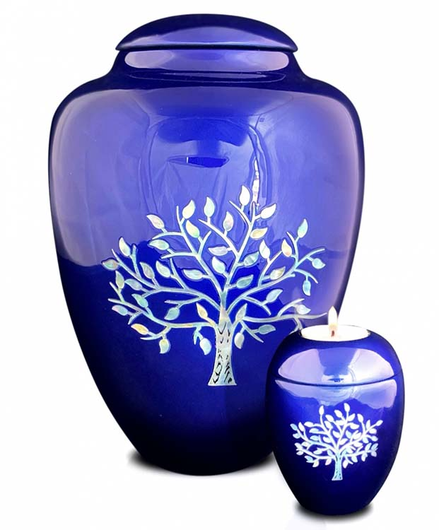 Grote Glasfiber Urn Levensboom Blauw (3.4 liter)