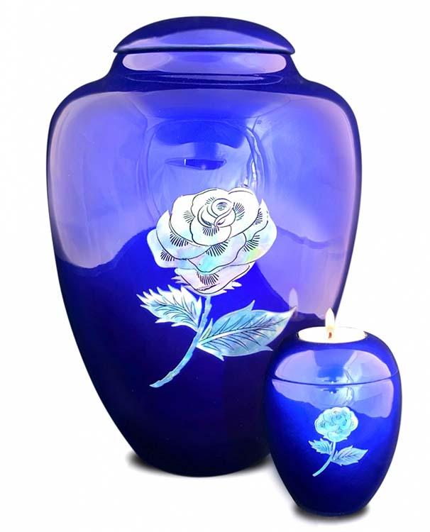 Grote Glasfiber Urn Roos Blauw (3.4 liter)