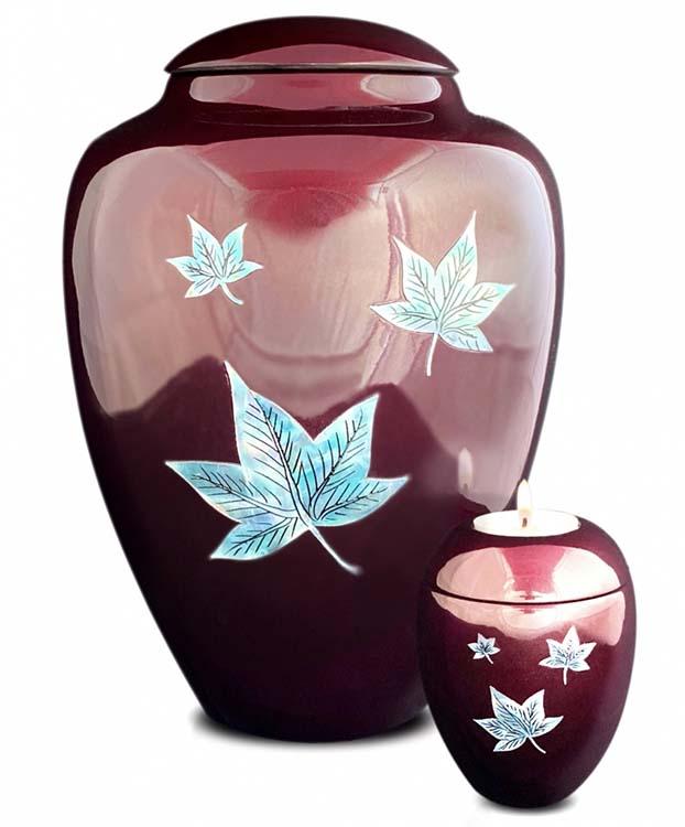 Grote Glasfiber Urn Vallende Bladeren Bordeaux (3.4 liter)